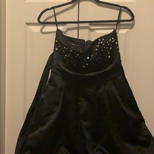 Black silky, strapless silver decoration dress